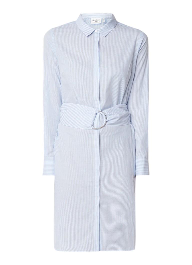Another-Label Lawton blousejurk met streepdessin en ceintuur lichtblauw