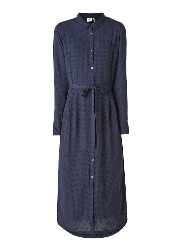 Another-Label Pippa blousejurk met polkadottextuur donkerblauw