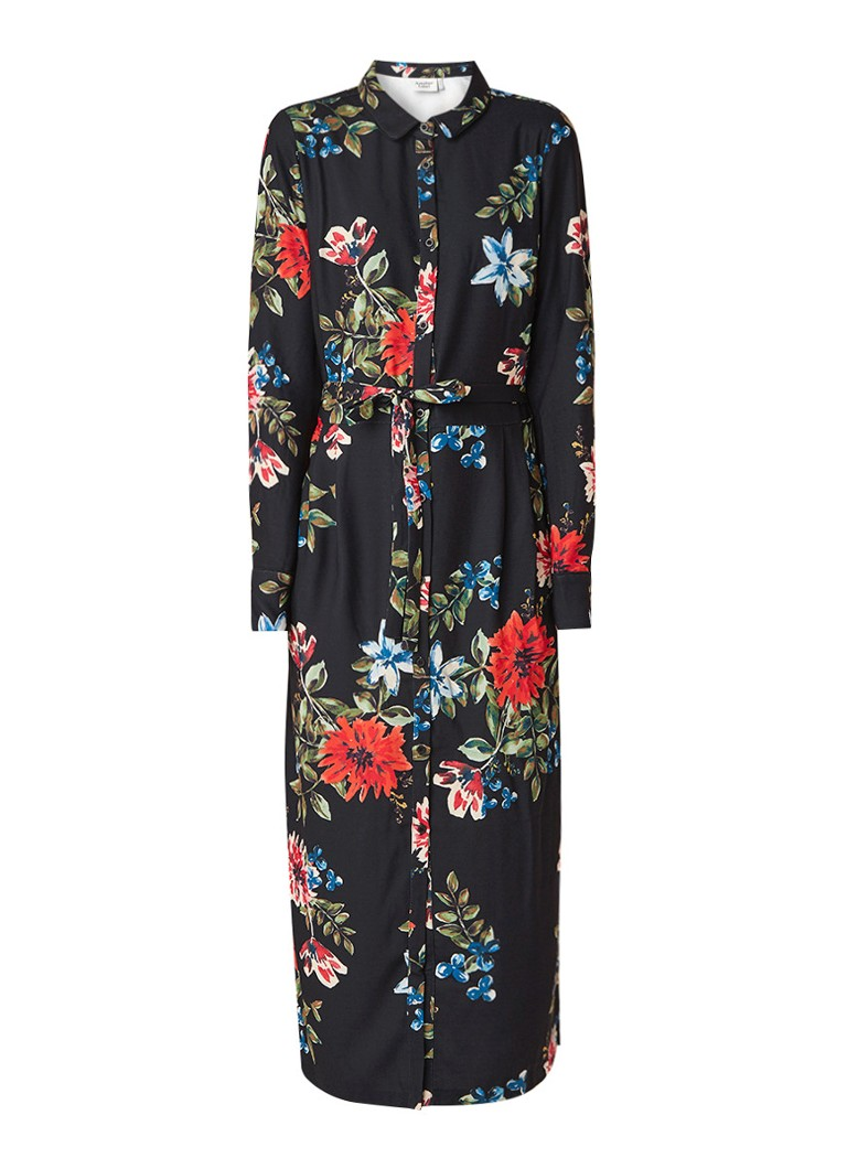 Another-Label Pippa midi-blousejurk met bloemendessin donkerblauw