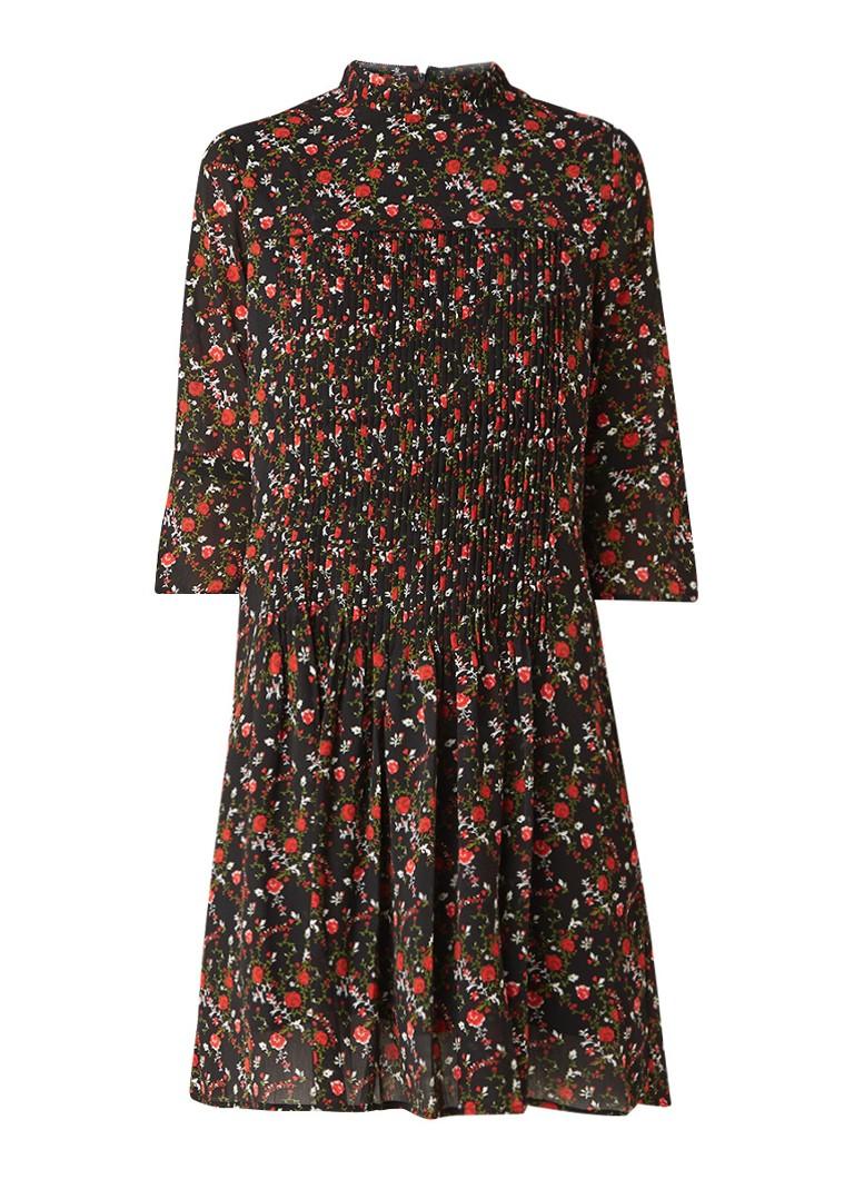 Another-Label Mack A-lijn jurk met bloemendessin en plissé zwart