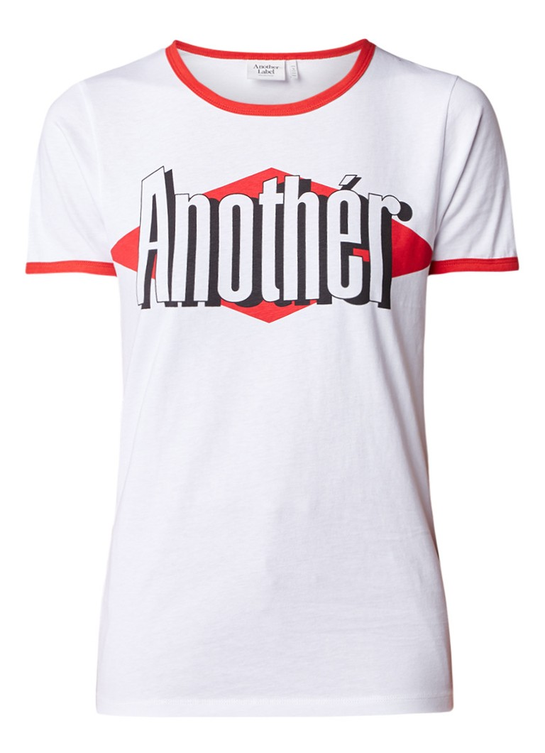 Another-Label Jussi T-shirt met retro look en logoprint