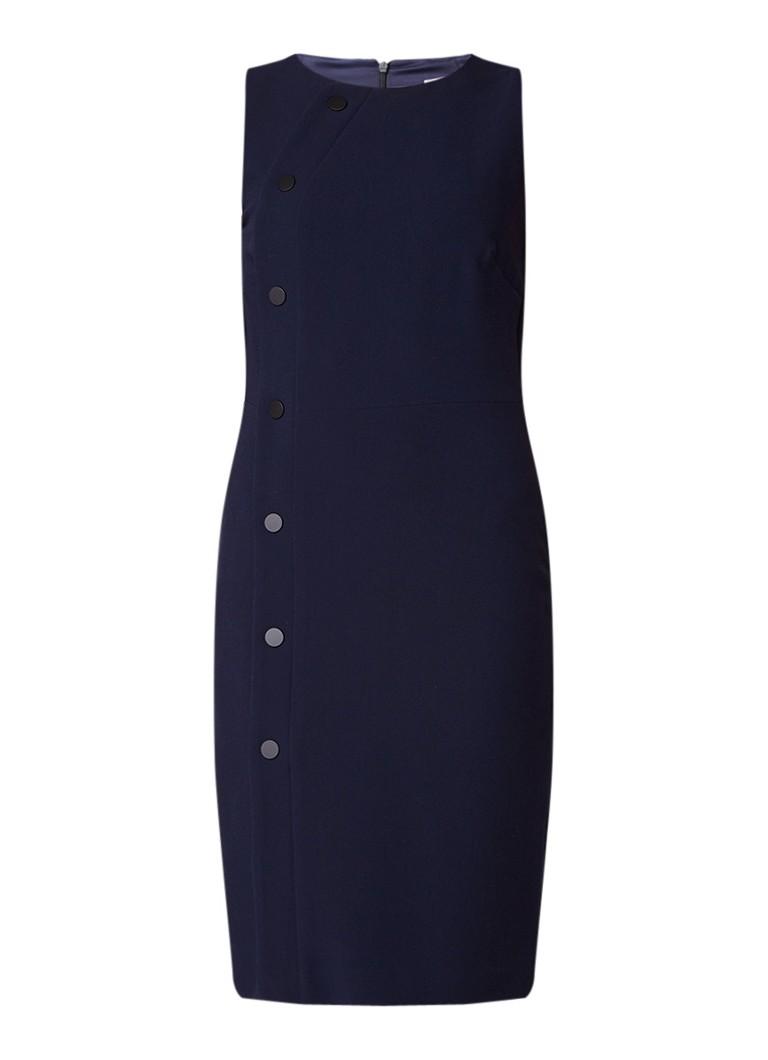 Mango Marion kokerjurk met asymmetrische knoopsluiting donkerblauw