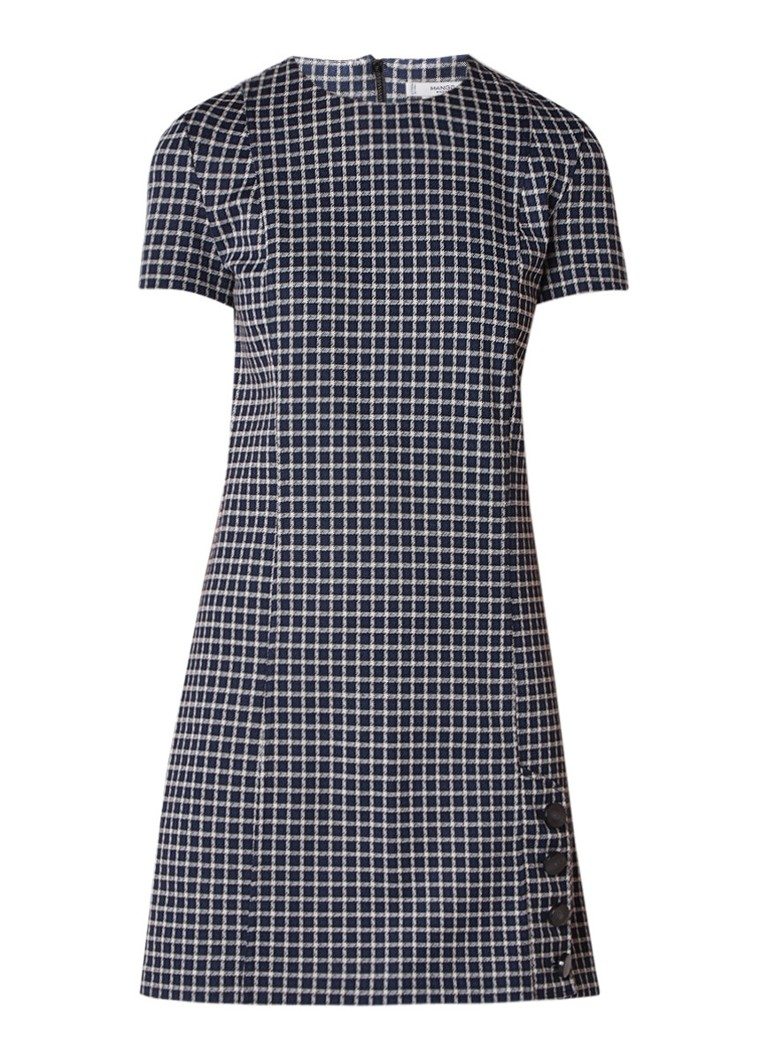 Mango Sofi jersey jurk met geruit dessin en knoopdetail donkerblauw