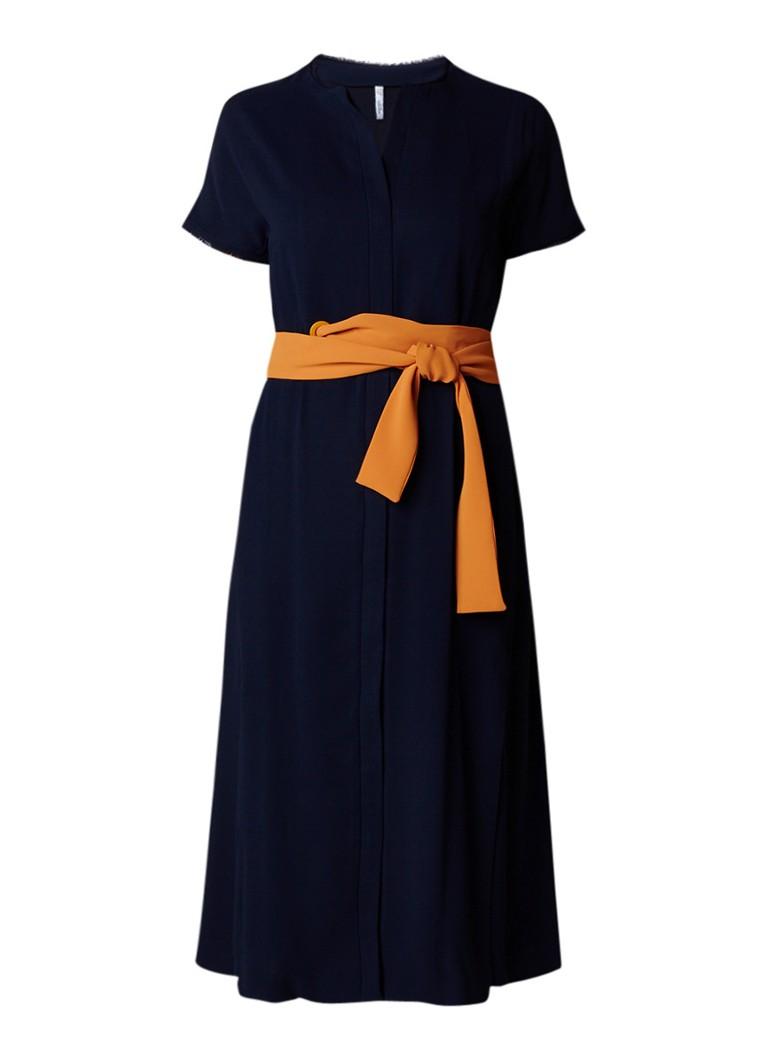 Mango Luna blousejurk met contrasterende strikceintuur donkerblauw