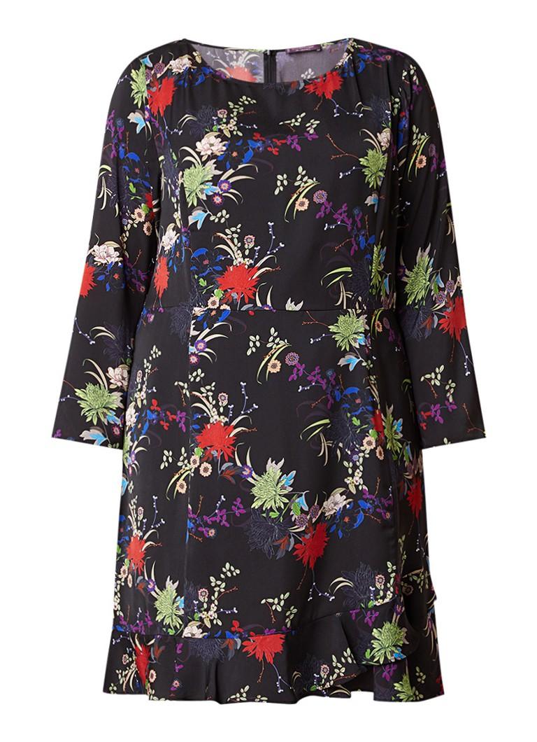 Mango Babel A-lijn midi-jurk met bloemendessin zwart