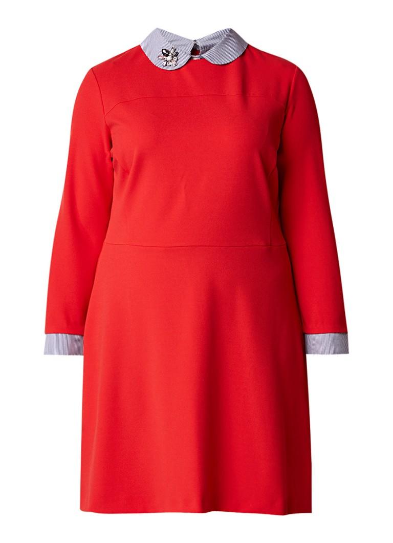 Mango Nancy midi blousejurk met decoratieve broche rood