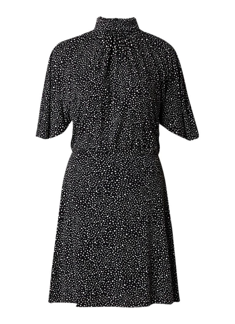 Mango Mix jersey jurk met gestipt dessin zwart