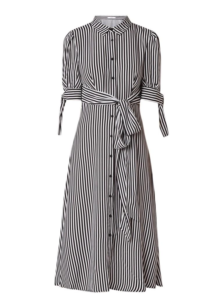 Mango Cami blousejurk met gestreept dessin en strikceintuur zwart