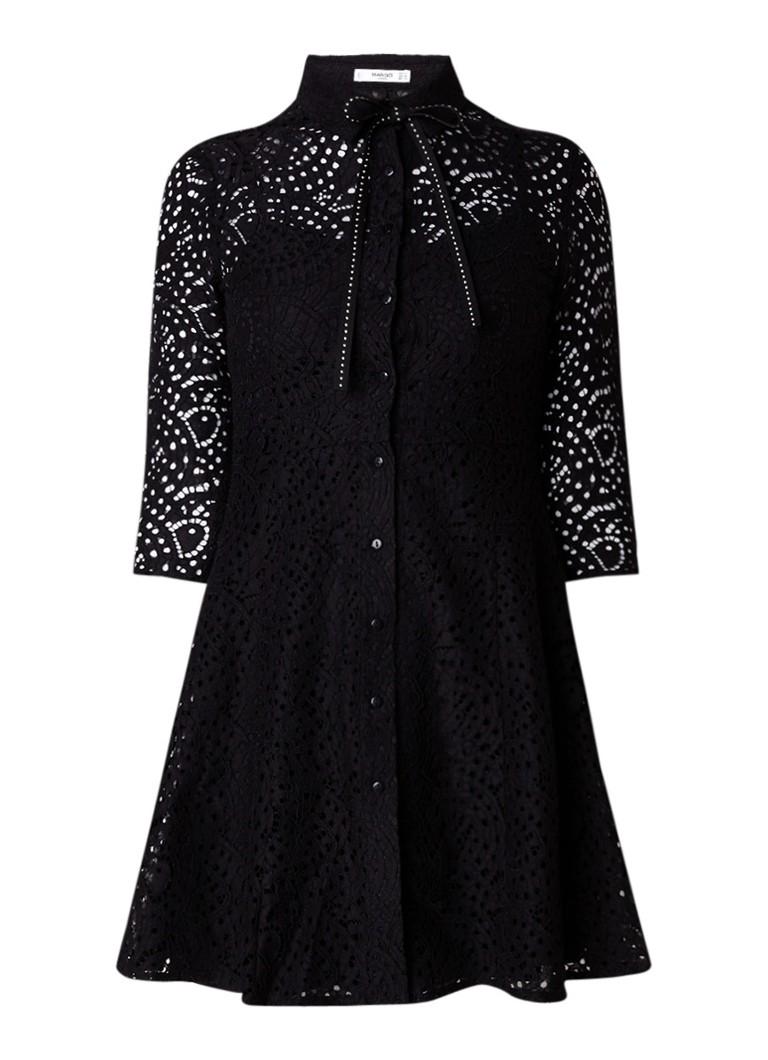 Mango Grany blousejurk van kant met strik zwart