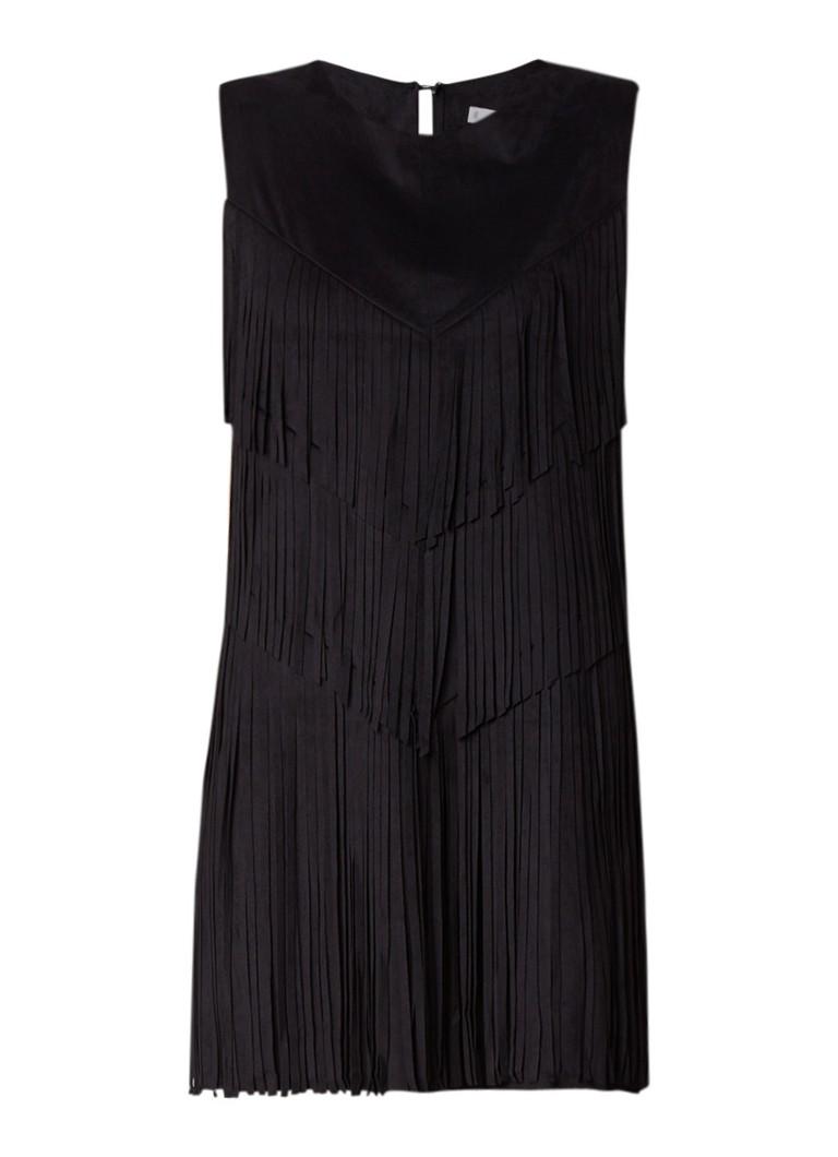 Mango Gipsy mini-jurk van suèdine met franjes zwart