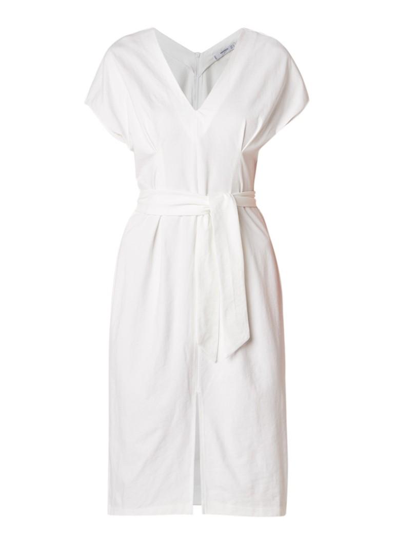 Mango Pic midi-jurk met split en strikceintuur gebroken wit