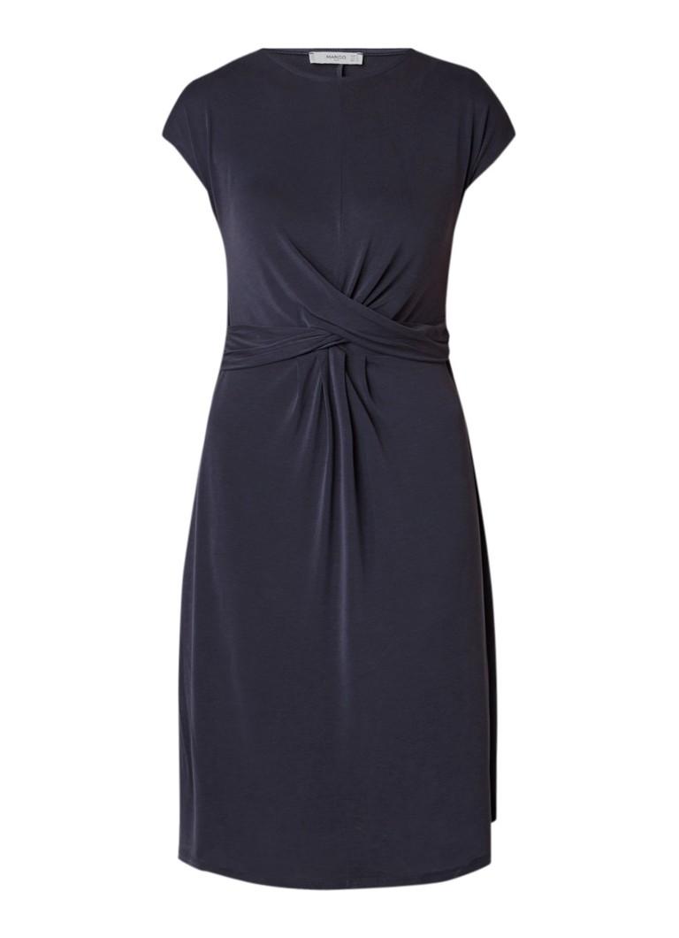 Mango Japon A-lijn jurk met knoopdetail donkergrijs