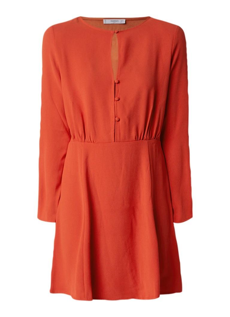Mango Paros blousejurk met keyhole en knoopdetail oranjerood