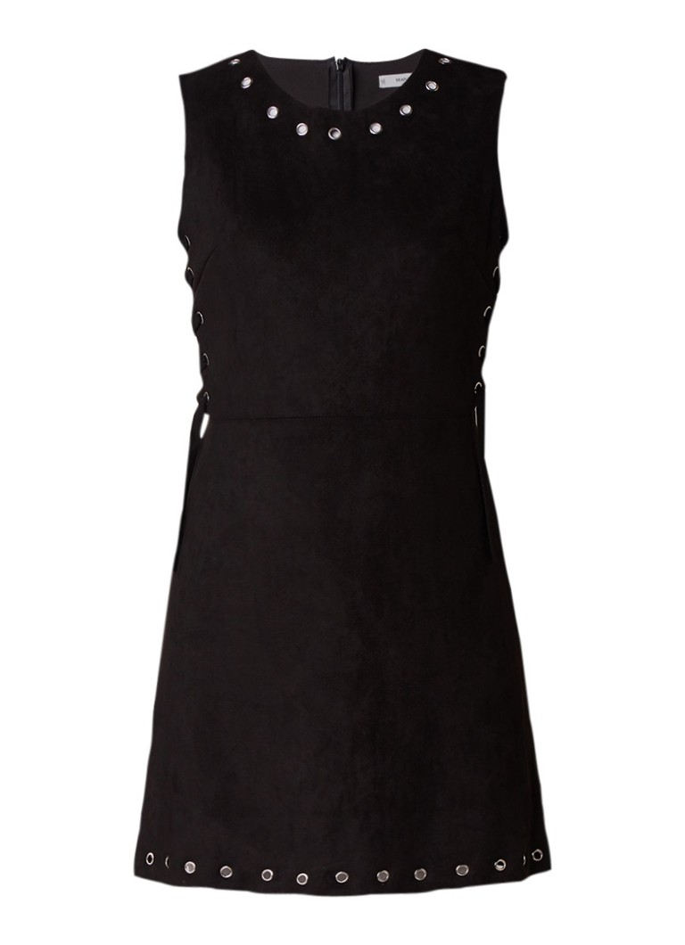 Mango Corsa A-lijn jurk van suèdine met eyelets zwart