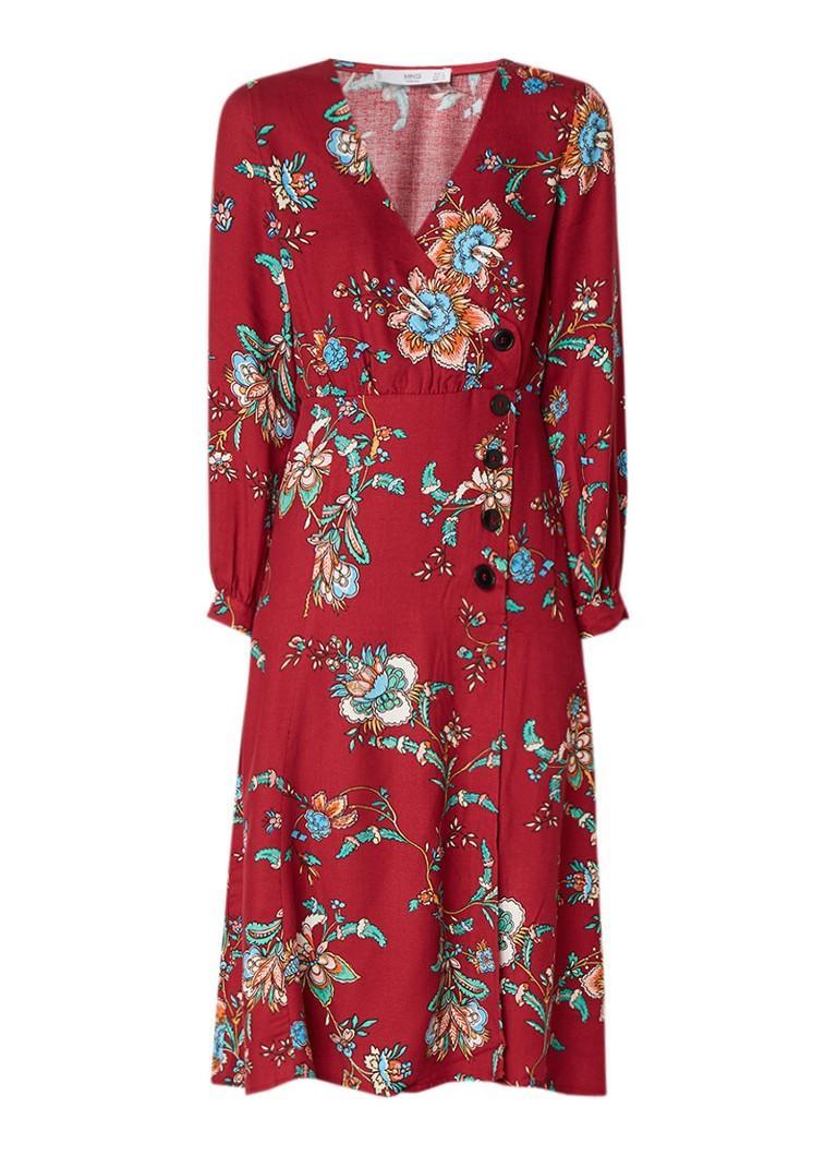 Mango Lauren A-lijn jurk met bloemendessin en split rood