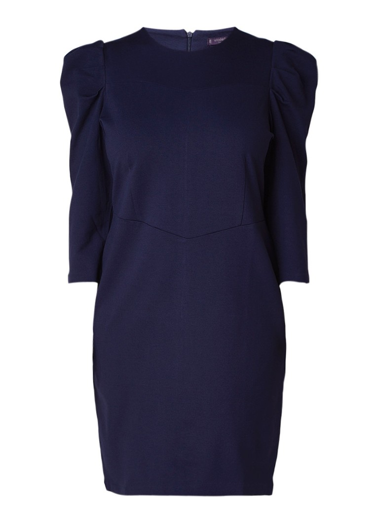 Mango Fabulos midi-jurk met driekwart pofmouwen donkerblauw