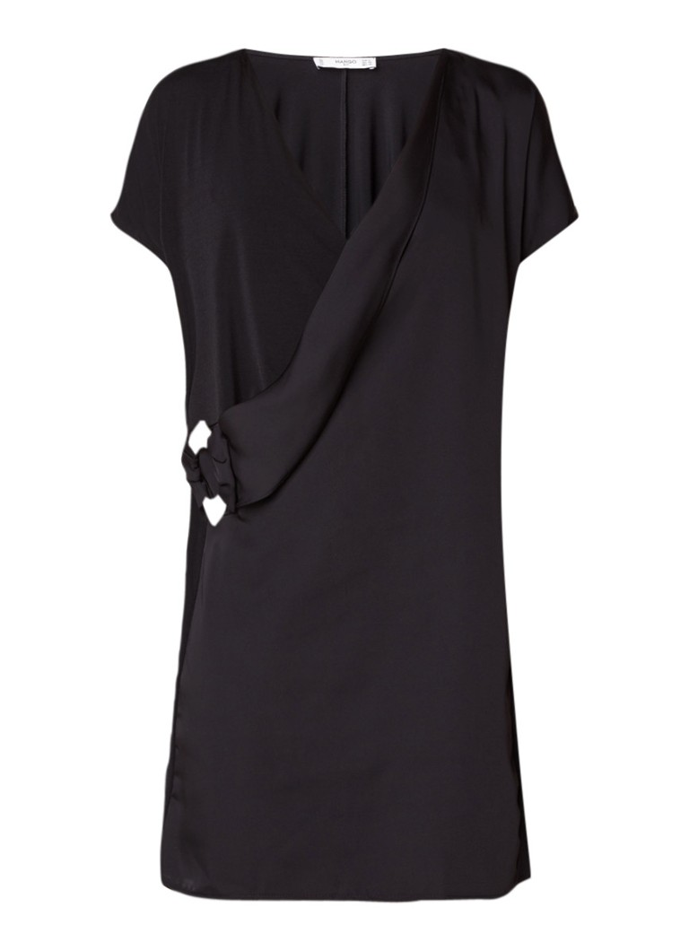 Mango Blonda mini-jurk met assymetrische overslag en gesp zwart