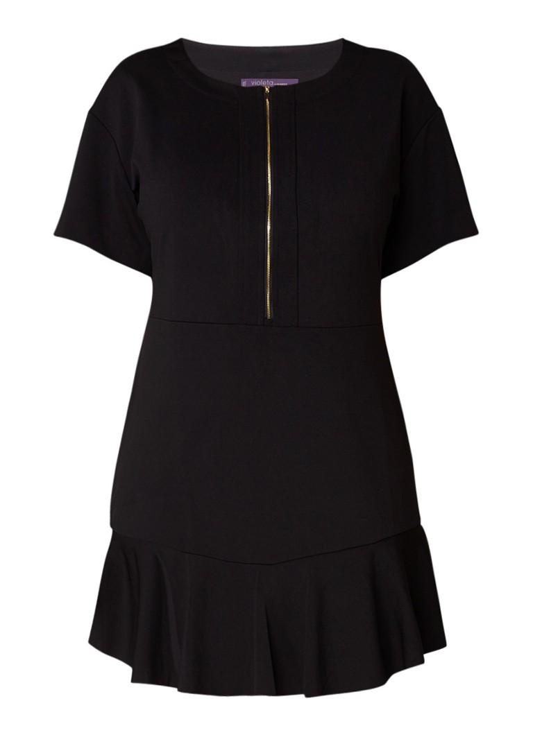 Mango Alex getailleerde midi-jurk met volant zwart