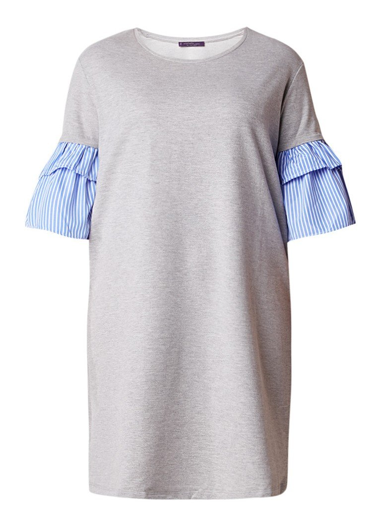 Mango Kuki sweaterjurk met gestreepte volantmouw grijsmele