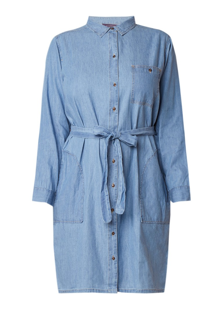 Mango Susy blousejurk van denim met strikceintuu indigo