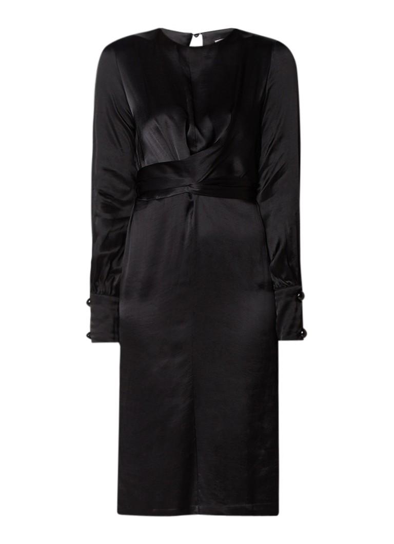 Mango Natalie midi-jurk van satijn met strikceintuur zwart
