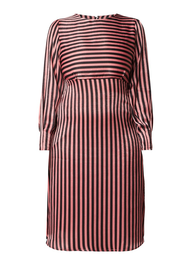Mango Sansa A-lijn jurk van satijn met streepdessin oudroze