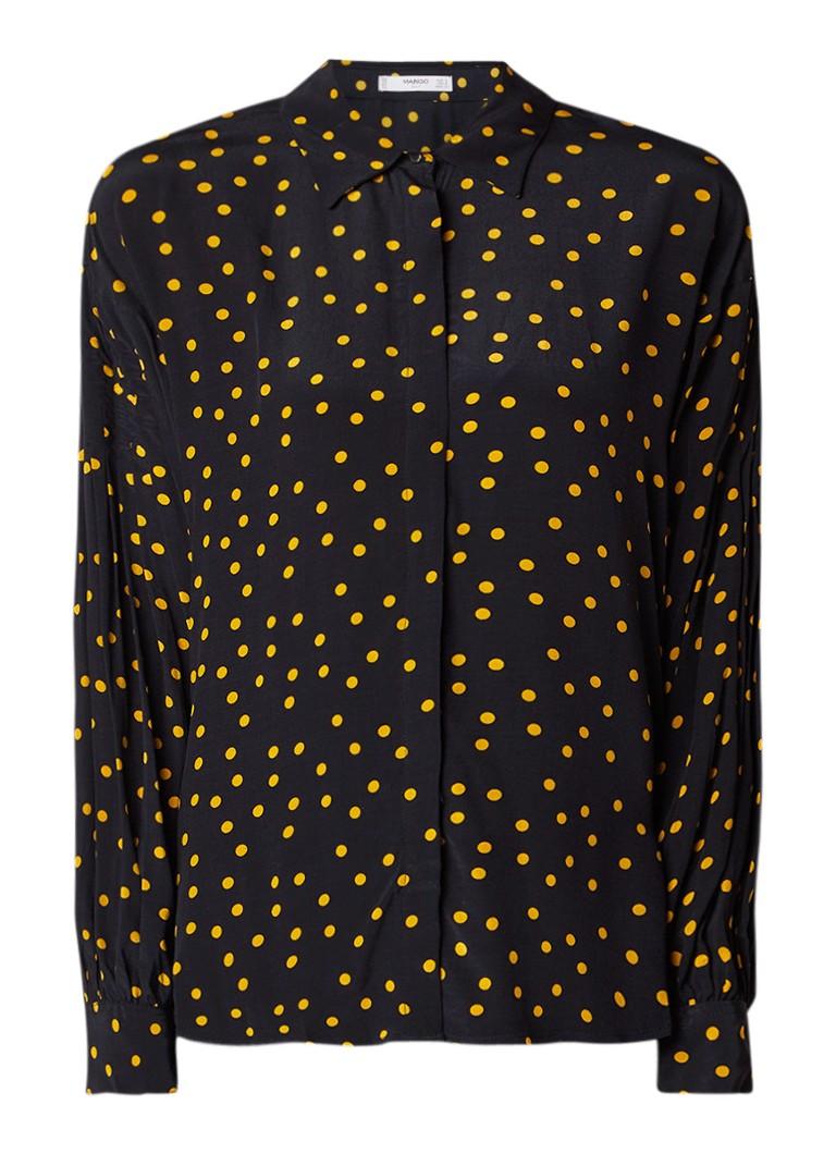 MANGO Tina gestipte middellange blouse met ballonmouw