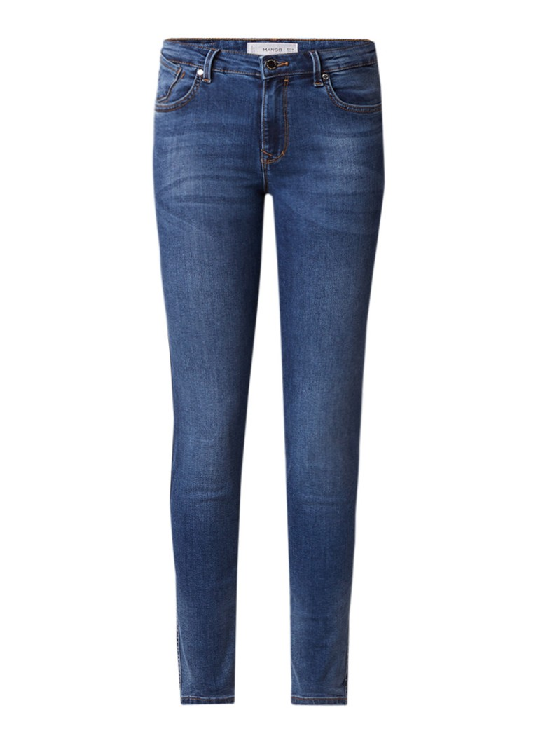 MANGO Uptown mid rise skinny fit jeans met verwassen look