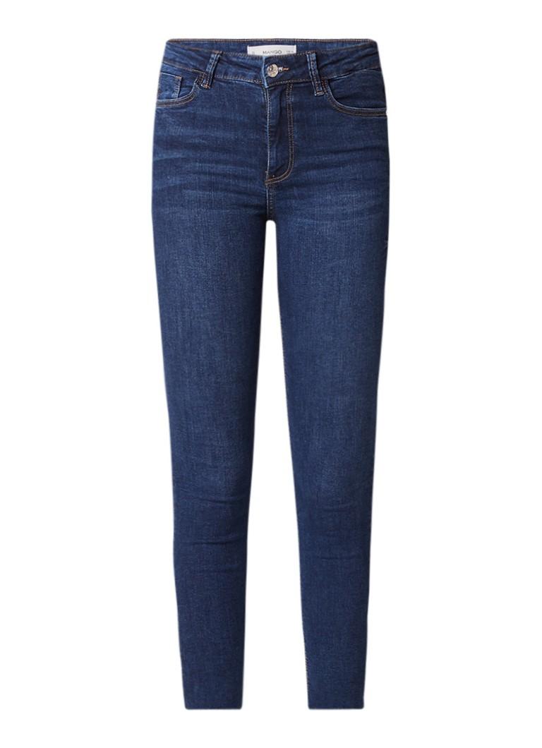 MANGO Noa high rise cropped skinny fit jeans met gerafelde zoom