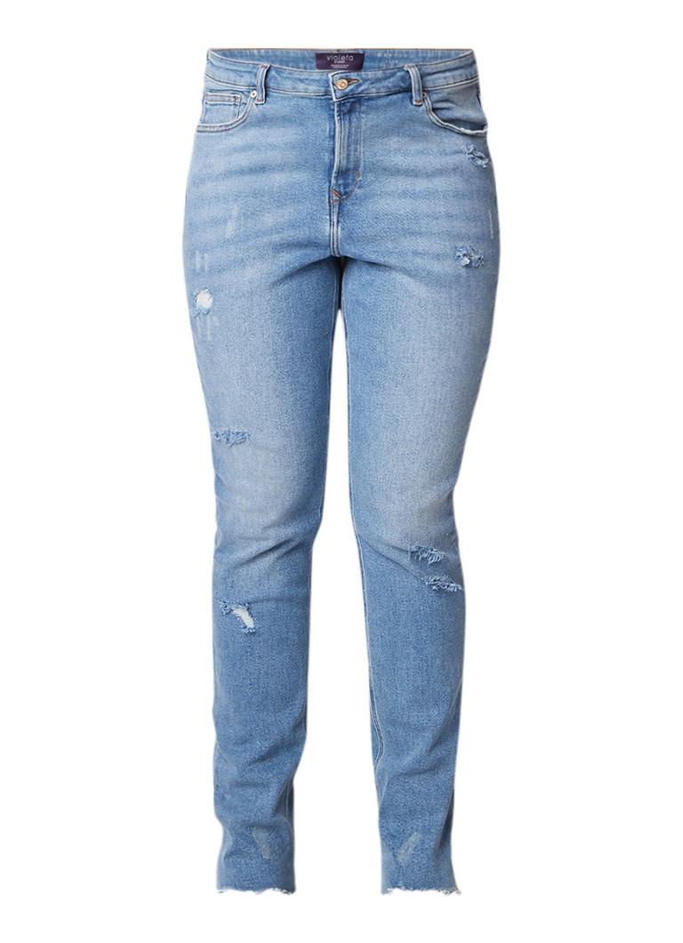 MANGO Mariah high rise push up slim fit jeans met gerafelde afwerking