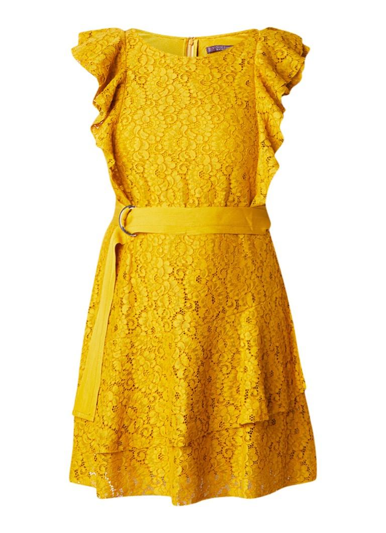 Mango Preciosa A-lijn jurk van kant met volant maisgeel