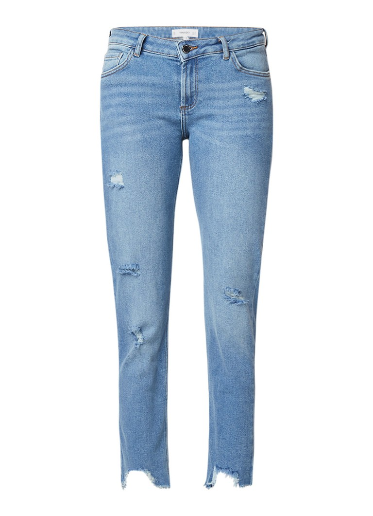 MANGO Mid rise cropped slim fit jeans in destroyed look