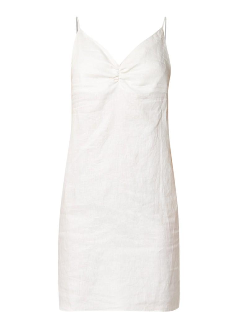 Mango Mini jurk van linnen met rimpeldetail beige