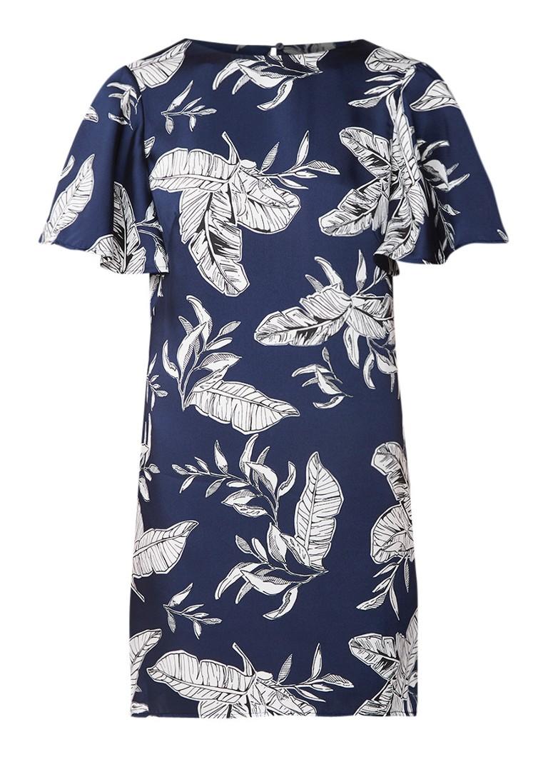 Mango Dita mini-jurk van satijn met bladdessin middenblauw
