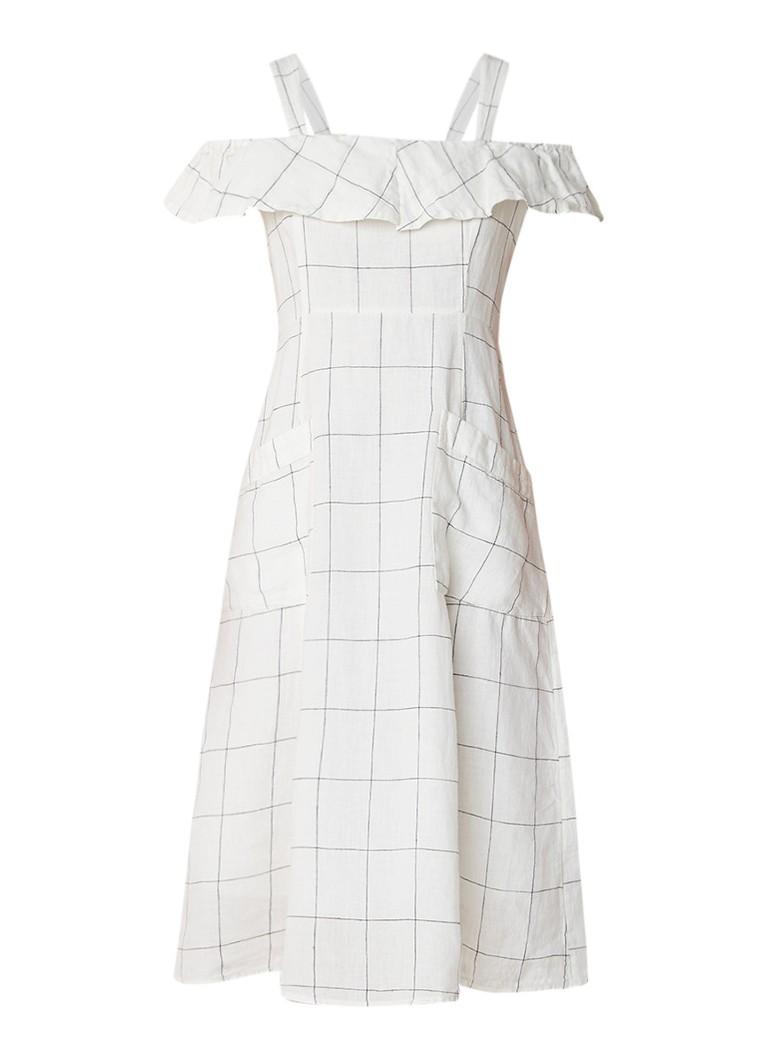 Mango Riviera midi-jurk van linnen met geruit dessin melk