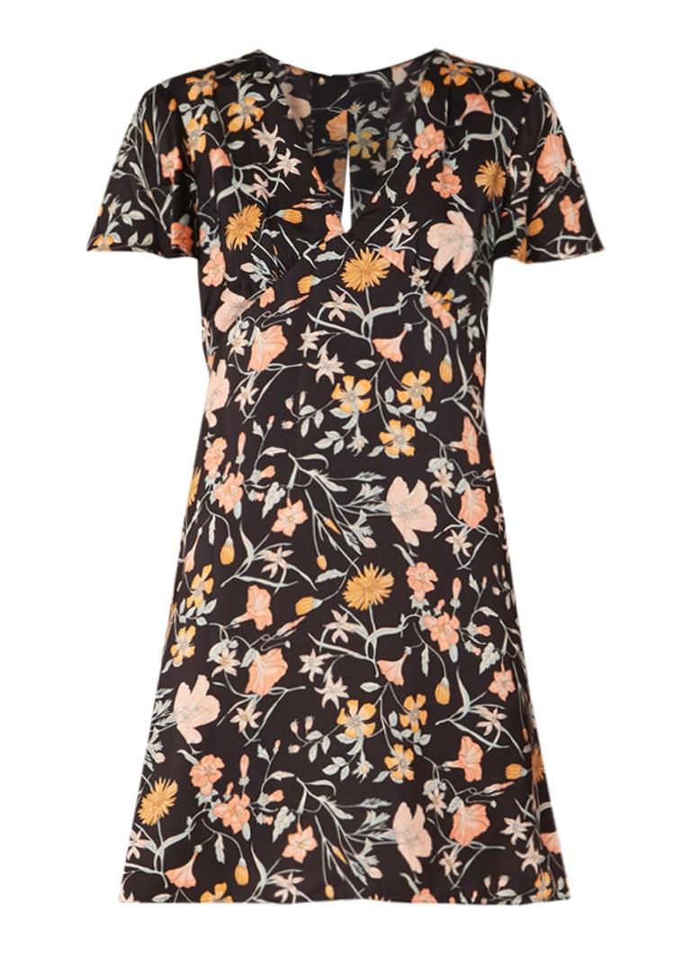 Mango Trac mini-jurk met bloemendessin en rugdecolleté zwart