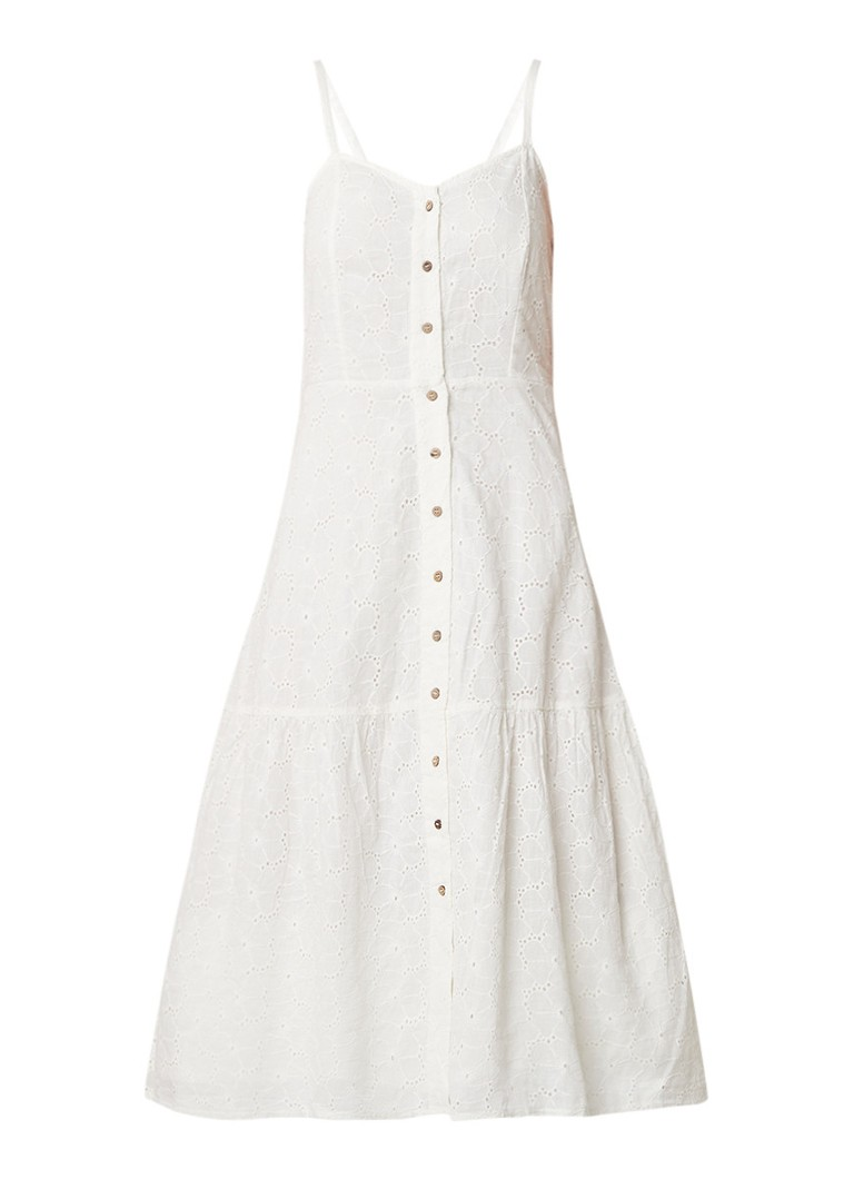 Mango A-lijn jurk met broderie en rug decolleté gebroken wit