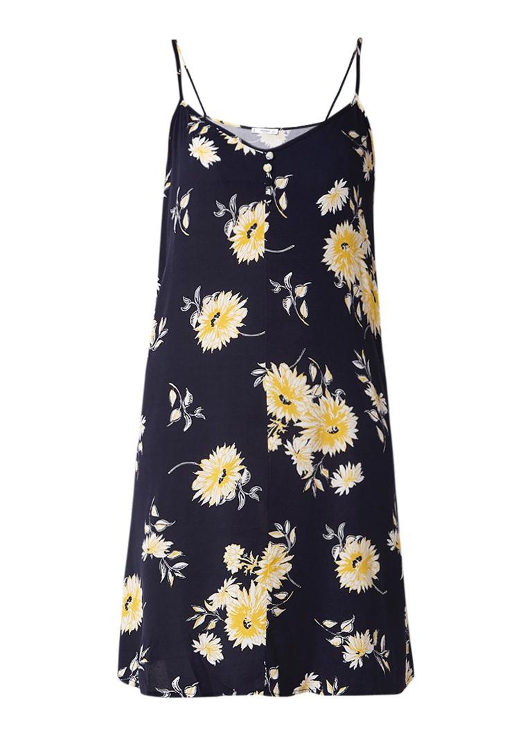 Mango Chiara midi-jurk met dessin en spaghettibandjes royalblauw