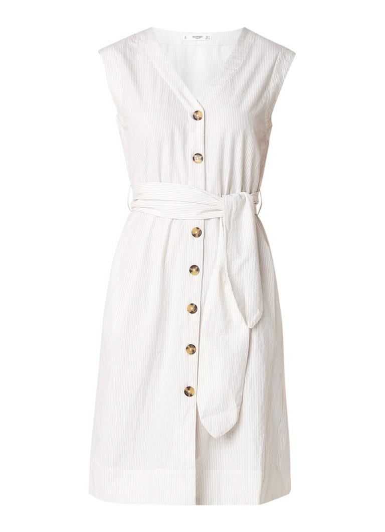 Mango A-lijn jurk met streepdessin en strikceintuur wit