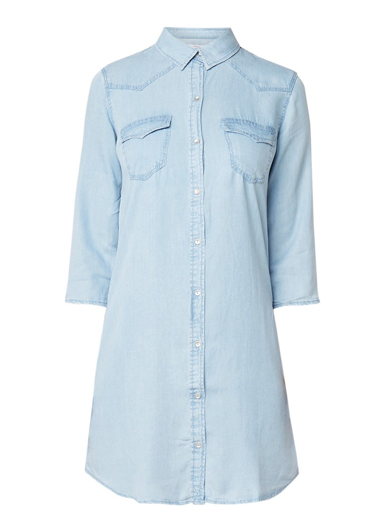 Mango Susy loose fit chambray blousejurk lichtblauw