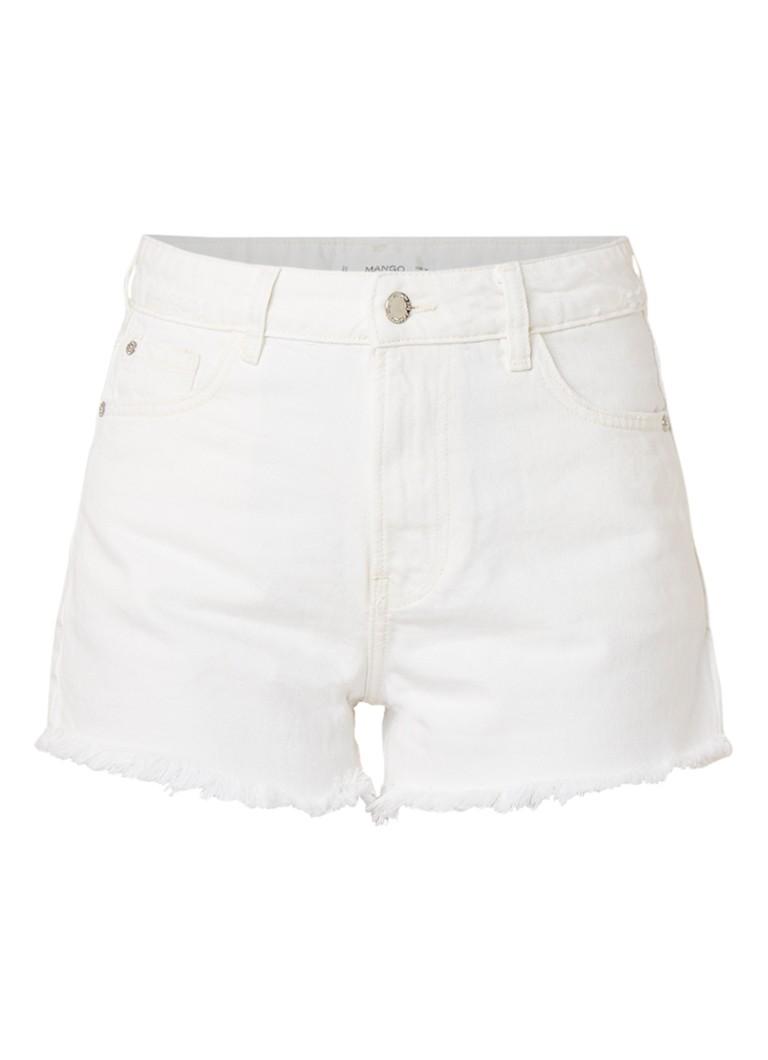 MANGO Denim mom shorts met gerafelde zoom