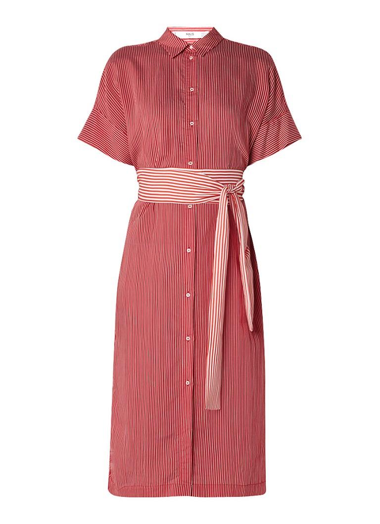 Mango Losvallende blouse-jurk met streepdessin en ceintuur rood