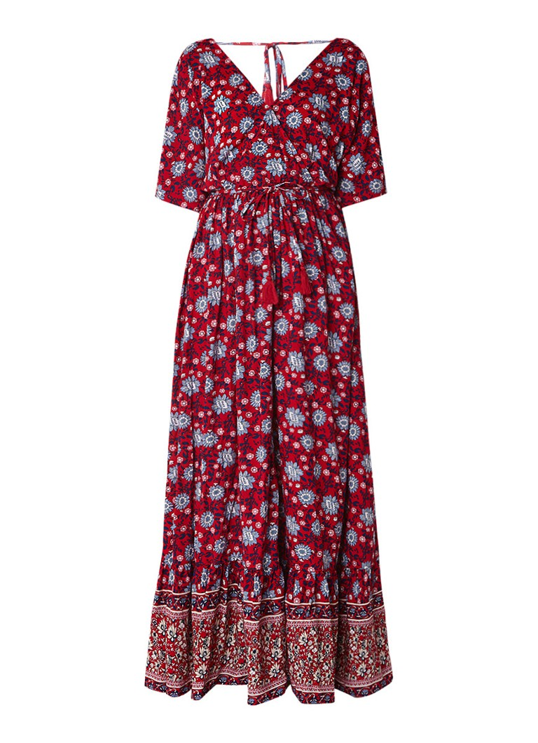 Mango Mocca A-lijn maxi-jurk met bloemendessin rood