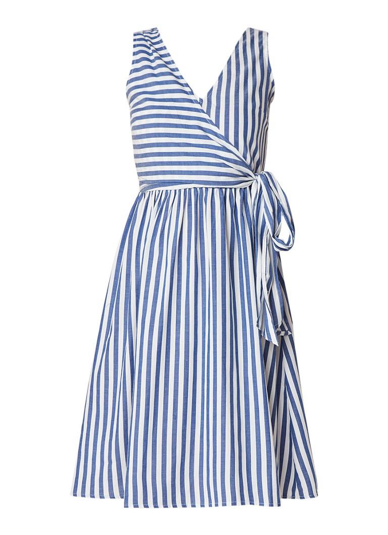 Mango Maldivas jurk van katoen met streepdessin middenblauw