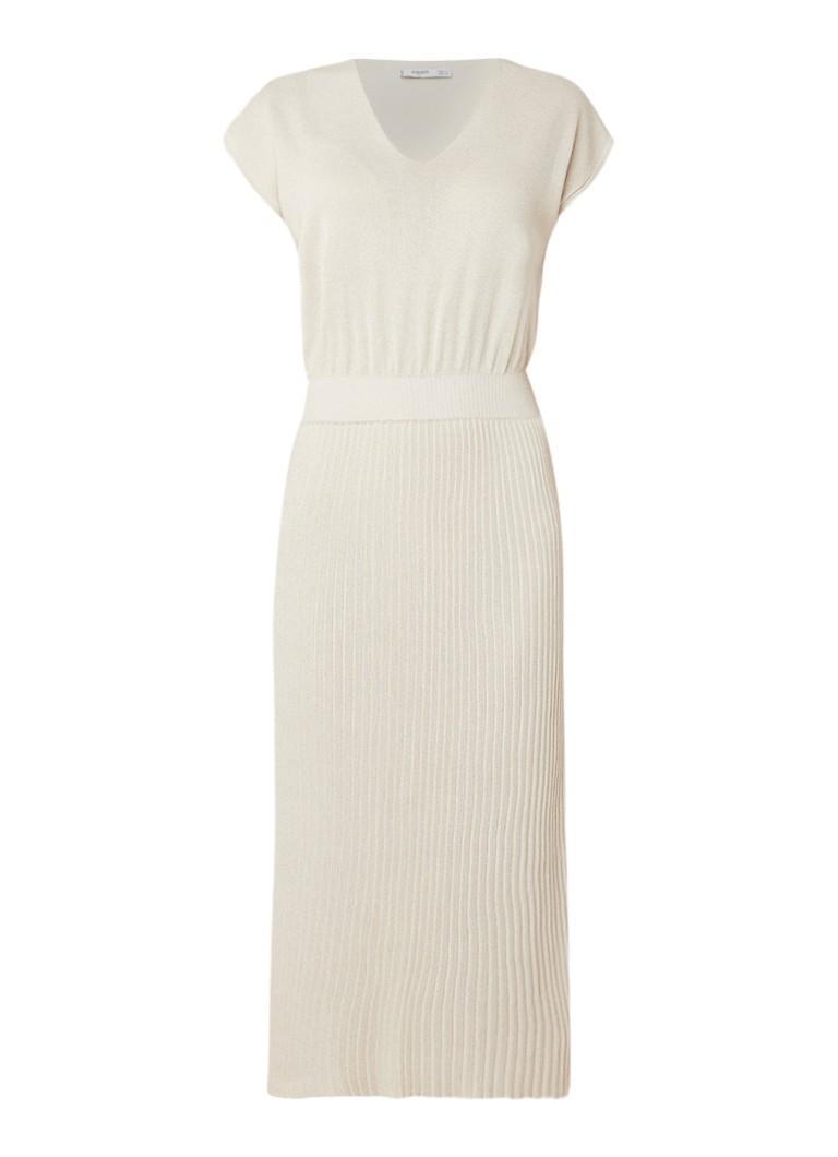 Mango Fijngebreide maxi-jurk met plissé zand