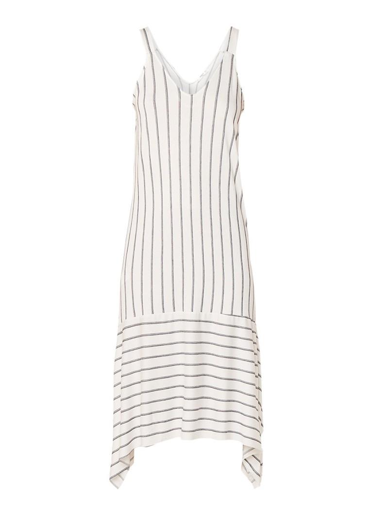 Mango Cari asymmetrisch midi-jurk van jersey met streepdessin wit