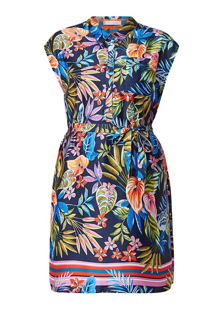 Mango Desi blousejurk met kleurrijk bloemendessin en ceintuur multicolor