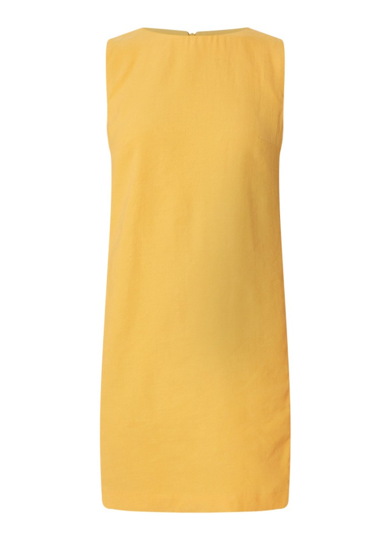 Mango Tikas straight fit mouwloze mini-jurk maisgeel