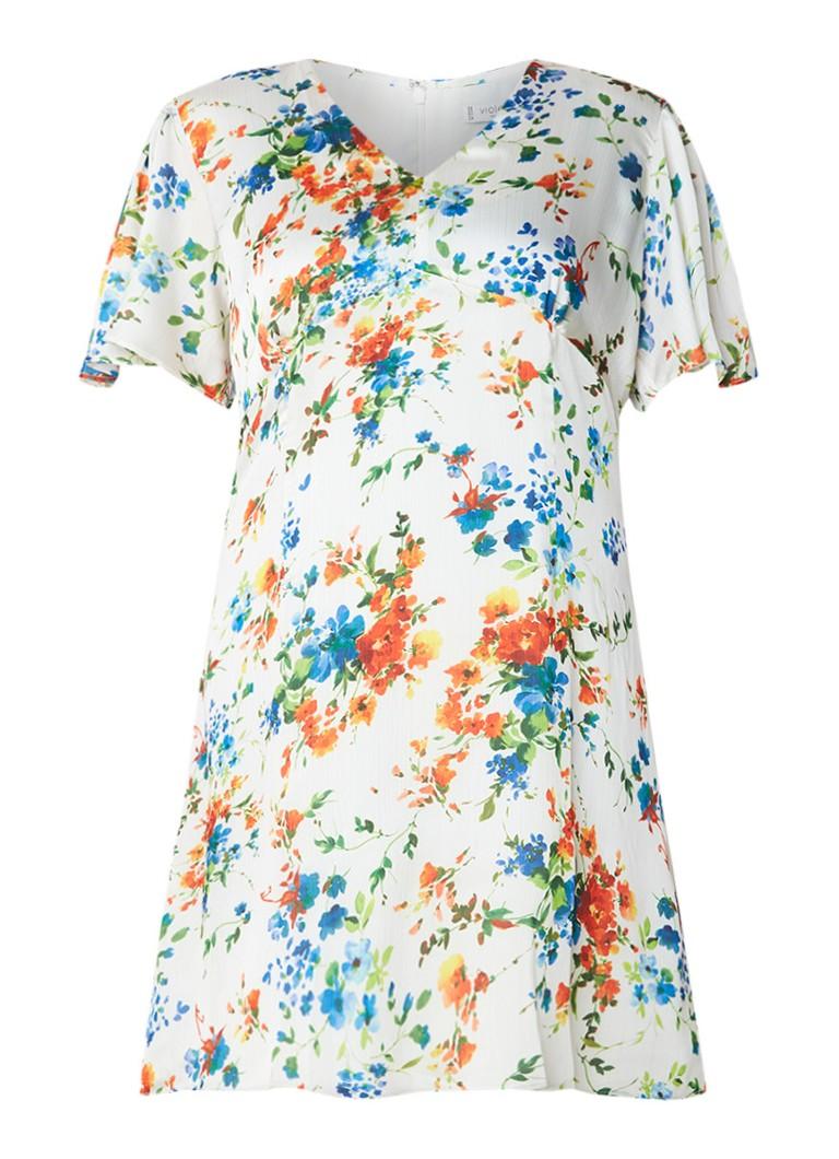Mango Gera midi-jurk met bloemendessin en V-hals gebroken wit