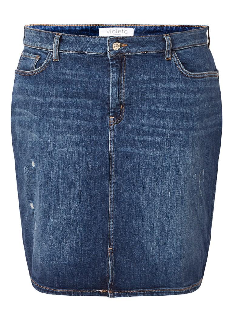 Mango Inma mini-rok van denim met versleten detail indigo